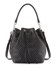 Saint Laurent Studded Medium Bucket Shoulder Bag