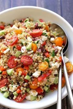 Israeli Couscous Salad with Summer Vegetables - Green Valley Kitchen