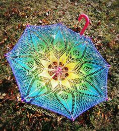 Crochet Umbrella - Rainbow Mandala Parasol   Flickr - Photo Sharing!