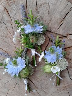 rustic buttonholes - replace blue nigella with white or pink