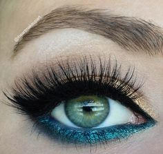 beautiful teal & gold makeup