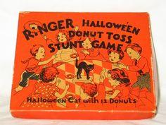 Vintage Halloween Game ~ Beistle Ringer Halloween Donut Toss Stunt Game ©1935