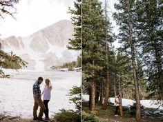 Mountain engagement photos ideas with tall pine trees. Couple posing ideas Wyoming Mountain Engagement Photography | Wyoming Based Wedding Photographer | Engagement Photos with Pine Trees