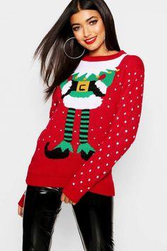90757792ae6e boohoo Elf Christmas Jumper Elf Christmas Jumper, Christmas Sweaters, Christmas  Jumpers, The Elf