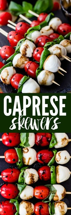 Caprese Skewers are 4 ingredient appetizers that are so simple to make but guaranteed to impress! Made with cherry tomatoes, mozzarella, fresh basil, and an easy balsamic reduction, they imitate the classic Caprese salad, only made portable on a skewer!