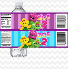 Barney+Water+Bottle+Labels++Printable+File+by+PhotoGoof+on+Etsy,+$4.50