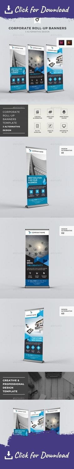 ad, advertisement, banner, blue, bundle, business, clean, company, creative, design, display, global, indesign, marketing, modern, multipurpose, premium, print ready, professional, promotion, roll-up, roll-up banner, rollup, signage, stand corporate, x banner Corporate roll-up banners template. This layout is suitable for any project purpose. Very easy to use and customise.   	................................................   	Size : 70×30 Inches (150 Dpi)   	Free Font Used…