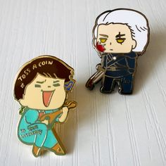 Adorable Toss A Coin To Your Witcher Jaskier Pin and Hm... Geralt Pin