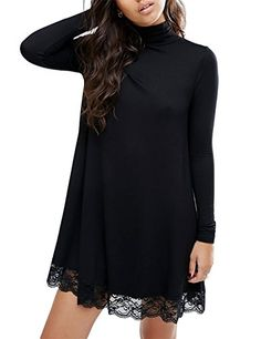 Leadingstar Women Knitting Turtleneck Long Sleeve Loose Lace Spliced Cotton Casual Dress Black -M -- Click here for more details @