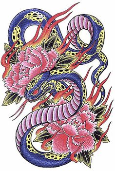 japanese style snake tattoo - Google Search