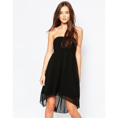 Vila Strapless Babydoll Dress (35.480 CLP) ❤ liked on Polyvore featuring dresses, black, black strapless cocktail dress, black dress, strapless dress, baby doll dress and ruched dress