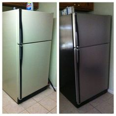 DIY: refrigerator from off white to stainless steel! faux stainless steel
