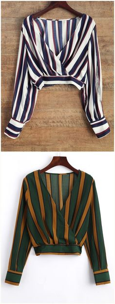 Striped Slit Sleeve Cropped Surplice Blouse.