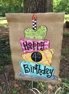 Handpainted Burlap Garden Flag ...Happy Birthday Flag