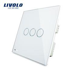 Livolo marfil panel de cristal cristal blanco, Interruptor Del tacto, standad REINO UNIDO, Digital Táctil Interruptor de La Luz/Luz de La Pared Interruptor Táctil VL-C303-61