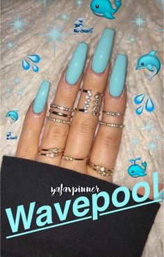 There are three kinds of fake nails which all come from the family of plastics. Acrylic nails are a liquid and powder mix. They are mixed in front of you and then they are brushed onto your nails and shaped. These nails are air dried. Best Acrylic Nails, Acrylic Nail Designs, Coffin Acrylic Nails, Tumblr Acrylic Nails, Nails After Acrylics, Blue Coffin Nails, Dope Nails, My Nails, Aqua Nails