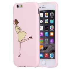 [$2.02] For iPhone 6 & 6s Lovely Modern Girl Relief Pattern Pink Color Soft…