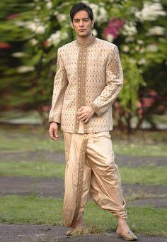 Buy Beige Khadi Readymade Dhoti Sherwani 204340 online at lowest price from our mens wear collection at Indianclothstore.com. Sherwani Groom, Mens Sherwani, Wedding Sherwani, Woolen Clothes, Head Turban, Mens Fashion Online, Indian Ethnic, Ethnic Style, Linen Blazer