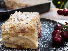 Μιλφέιγ με κρέμα κεράσι !!! ~ ΜΑΓΕΙΡΙΚΗ ΚΑΙ ΣΥΝΤΑΓΕΣ 2 Greek Desserts, Greek Recipes, Recipe Boards, Lasagna, Quiche, French Toast, Ice Cream, Pie, Tasty