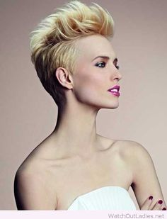 Blonde short hair cut and a lovely make-up