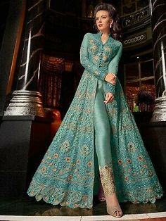 Buy online indian ethnic outfits like salwar suit and party wear salwar suit. Order this observable embroidered, resham and zari work pant style suit for festival and wedding. Indian Gowns Dresses, Indian Fashion Dresses, Indian Designer Outfits, Pakistani Dresses, Indian Outfits, Designer Dresses, Dresses Dresses, Anarkali Lehenga, Mode Style