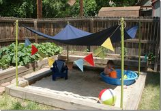 Try These 20 DIY Outdoor Decor Ideas 2019 Such a good idea. Kids will love this. Backyard beach with shade. The post Try These 20 DIY Outdoor Decor Ideas 2019 appeared first on Backyard Diy. Backyard Beach, Backyard For Kids, Backyard Landscaping, Backyard Playground, Kids Yard, Backyard Shade, Backyard Play Areas, Playground Kids, Landscaping Ideas