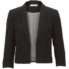 Selected Femme Eby Blazer (2.300 UYU) ❤ liked on Polyvore featuring outerwear, jackets, blazers, black, casacos, 3/4 sleeve black blazer, black jacket, black faux jacket, cropped blazer and cropped jacket
