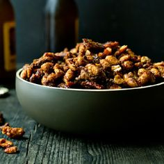 The perfect beer snack: sweet and spicy candied nuts.