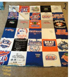 DIY t-shirt blanket. Finally found instructions that are easy and don't require much sewing skills at all. Now I know what to do with all of my lacrosse tournament t-shirts!!