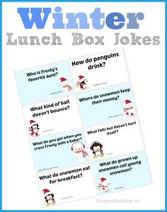 Printable Winter Lunch Box Notes using jokes!  Take the chill out of the winter months with these fun jokes.  #kids #jokes