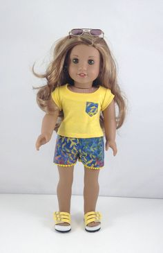 "18T Sweet & Sassy - Top, Shorts and Sandals for 18"" Dolls like American Girl (R) Dolls like Lea, Tenney, Grace, Kit, Saige and McKenna by MjsDollBoutique18T on Etsy"