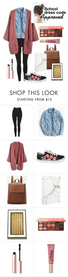 """""""Casual Uniform"""" by faith-32 on Polyvore featuring Topshop, J.Crew, Chicwish, Vans, russell+hazel, Kate Spade and Too Faced Cosmetics"""