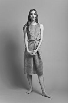 Black and off-white herringbone linen sleeveless wrap dress   Dresses   Women   Clothing   Honest by