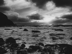 Picture taken on Alnes in Norway. Black and white landscape photography. Black And White Landscape, Nature Photos, Black And White Photography, Norway, Landscape Photography, Mountains, Water, Pictures, Travel