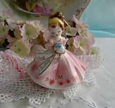 Pink Josef Originals Figurine Happy Birthday