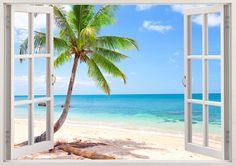 Palm fenêtre 3D arbre plage wall decal, autocollant de mur de plage, plage tropicale autocollant arbre décor, art pariétal côte pour chambre d