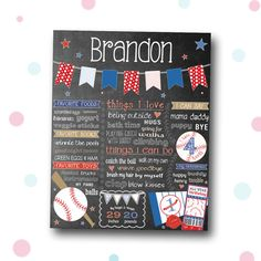 Boy Chalkboard First Birthday Sports Poster by PinksterCreations
