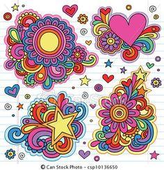 Vector - bloem, macht, Groovy, Doodles, Vectors - stock illustratie, royalty-vrije illustraties, stock clip art symbool, stock clipart symbolen, logo, line art, EPS beeld, beelden, grafiek, grafieken, tekening, tekeningen, vector afbeelding, artwork, EPS vector kunst