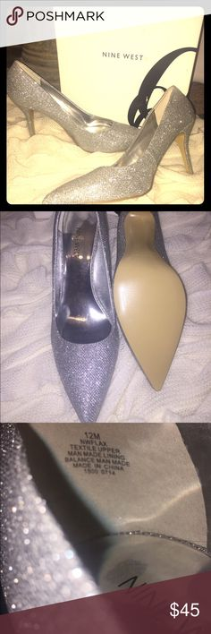"NIB❤️Nine West ""Jackpot"" 3 1/2"" Size 12 Sexy Heels Brand NEW & never worn Gorgeous Nine West sparkling silver glittery heels! Think...Dorothy's Ruby Slippers just in silver & that's just what these look like! Bundle with another beautiful new pair of Nine West shoes for an even better deal! I am ALWAYS looking for lovely shoes for my Size 12 girls! Great Xmas & New Years Shoes! Nine West Shoes Heels"