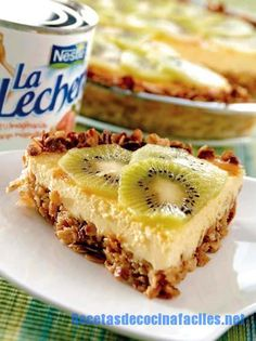 Yogurt cheese pie 2014-12-12 06:44:33 Guardar Receta Imprimir Ingredientes 1 galletas Marías® package 30 grams of oats 90 grams of butter 190 grams of cream cheese 150 g of natural yoghurt 3 eggs 1 Cup La Lechera® sweetened condensed milk 2 kiwis Instrucciones Moler las galletas Marías®, empty in a round; Add the oatmeal and melted butter, mix with your fingers and press to form a paste. Blend cheese, yoghurt, eggs and milk ...