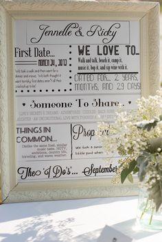 Wedding decor: facts about the couple  Niagara-On-The-Lake // Wedding // Summer // Navy Hall // Ontario // Canada // Jessica Little Photography @MarthaWeddings  @stylemepretty  @MODwedding