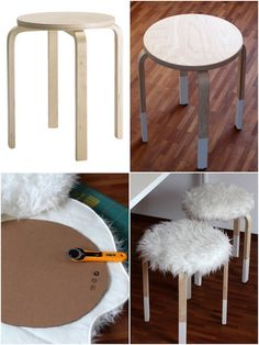 personnaliser le tabouret frosta ikea hack et lui donner un style scandinave hygge et cosy en ajoutant un rembourrage à partir du tapis en fausse fourrure mouton ikea hack. Frosta Ikea, Furniture Makeover, Diy Furniture, Creation Deco, Ideias Diy, Diy Décoration, Home And Deco, Diy Room Decor, Home Decor