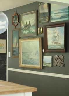 dining room nautical seascape vintage moody gallery wall by BGM Inspiration