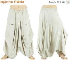 Long linen skirt beige, baggy shaped bottom, large tribal ethnic saroual harem…