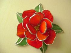 foil rose, copper foil glass, stain glass, 3d rose, stained glass