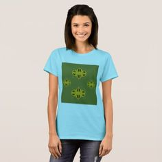 Designers tshirt blue with Ornaments green - luxury gifts unique special diy cyo