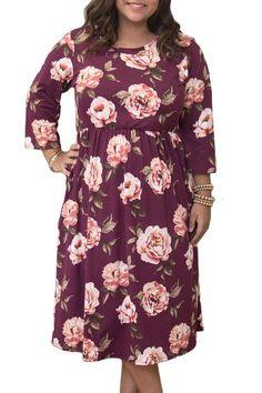 Purplish Red Floral Printing Plus Size Dress. Plus Size DressesCute DressesLong  Sleeve ... b24b14ec3117