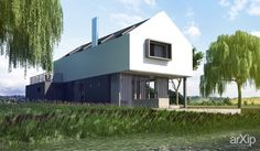 Дом у озера: архитектура, 2 эт | 6м, жилье, минимализм, 100 - 200 м2, фасад - кирпич, фасад - дерево, коттедж, особняк #architecture #2fl_6m #housing #minimalism #100_200m2 #facade_brick #facade_wood #cottage #mansion