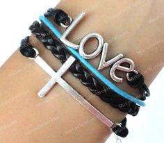 Bracelet--LOVE bracelet, cross bracelet, brown braid bracelet, gift for friends, girlfriend and boyfriend. $6.99, via Etsy.