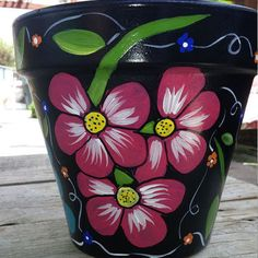 Flower pot hand painted clay pot pottery Italian clay pot planter garden decor home decor floral design Flower Pot Art, Flower Pot Design, Clay Flower Pots, Flower Pot Crafts, Clay Pots, Floral Design, Cactus Flower, Clay Pot Projects, Clay Pot Crafts